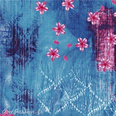 Feuilles décopatch fond bleu nuancé fleur rose et fuschia