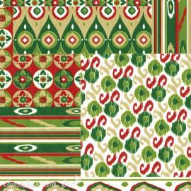 Feuilles décopatch patchwork motif africain vert rouge doré