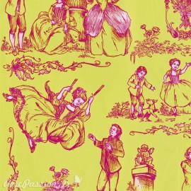 Feuilles décopatch toile de jouy fond vert motif rose