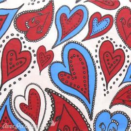 Feuille décopatch coeurs blanc bleu et rouge