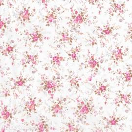 Feuilles décopatch blanc semis de fleurs rose et taupe