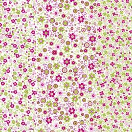 Feuilles décopatch fond blanc semis petites fleurs rose et vert