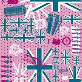 Feuilles décopatch drapeau anglais rose bleu et gris