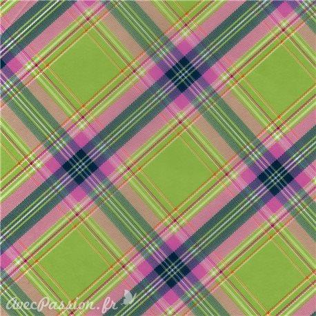 Feuille décopatch 30x40cm écossais vert bleu et rose