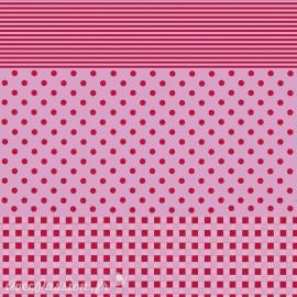 Feuille décopatch 30x40cm fond rose vichy pois et ligne rouge