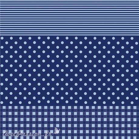 Feuille décopatch 30x40cm fond bleu marine vichy pois et ligne bleu clair