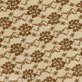 Feuille décopatch 30x40cm fond vanille dentelle et fleurs marron