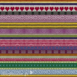 Feuilles décopatch tricot multicolore