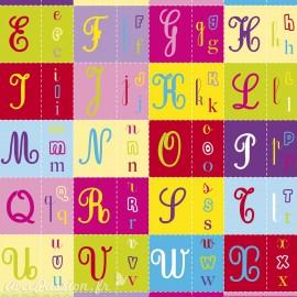 Feuilles décopatch motifs alphabet multicolore