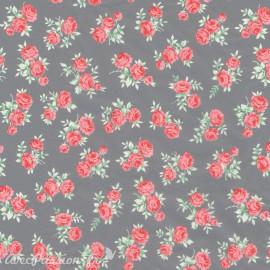 Feuilles décopatch week end à la campagne fond gris roses rose