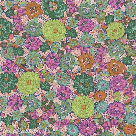 Feuilles décopatch fleurs fond vert