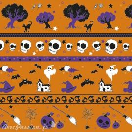 Feuilles décopatch fond orange halloween noir et violet