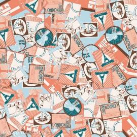 Feuilles décopatch timbres paris londres newyork moscou