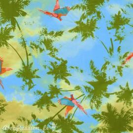 Feuilles décopatch fond bleu palmiers et perroquet