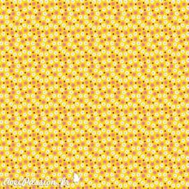 Feuille décopatch fond jaune fleurs blanches corail