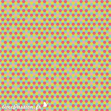 Feuille décopatch géométrie corail anis bleu