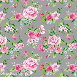 Feuille décopatch fond gris roses rose