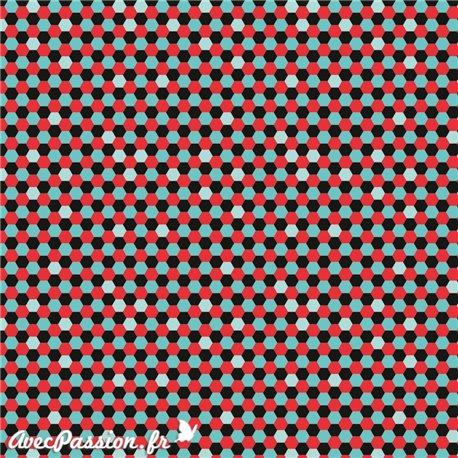 Feuille décopatch géométrie noir rouge bleu clair