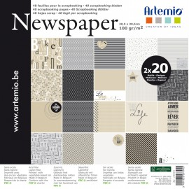 Papier scrapbooking assortiment newspaper 2x20fe