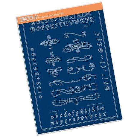 Gabarit tracage du parchemin Groovi calligraphie et alphabet