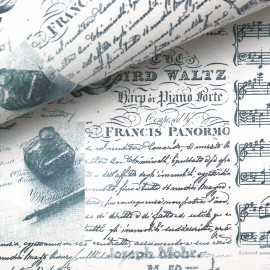 Papier italien motifs partition de musique et calligraphie