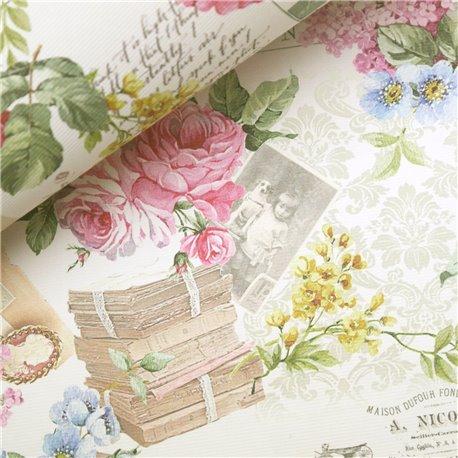 Papier italien motifs fleurs rose et lilas