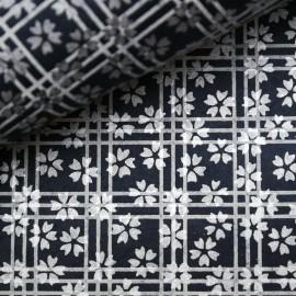 Papier népalais lokta bleu fleurs argent quadrillage blanc