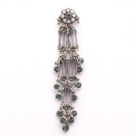 Boucles d'oreilles pendantes percées vert strass Swaro Kenny Ma -
