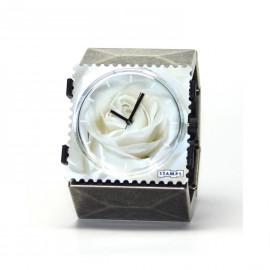 Bracelet élastique de montre Stamps belta métal argent vintage