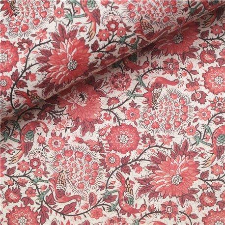 Papier tassotti à motifs paon rouge