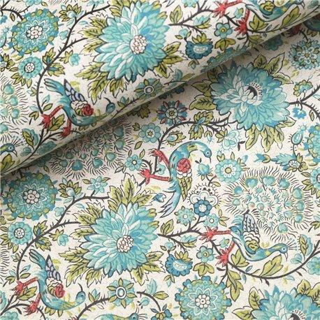 Papier tassotti à motifs paon bleu et vert