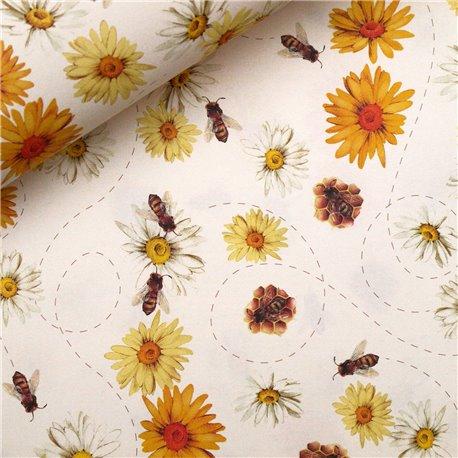 Papiers tassotti à motifs abeilles et fleurs