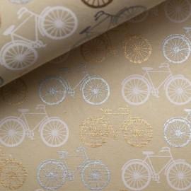 Papier indien crème vélo doré argent blanc