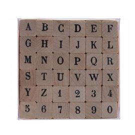 Tampon bois 30 alphabet antique majuscules