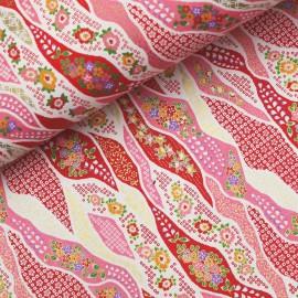 Papier japonais washi fleur flottante ondulation rose et rouge