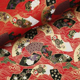 Papier japonais washi éventail or rouge