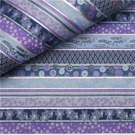 Papier japonais washi fleurs assorties lignes mauve