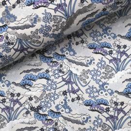Papier japonais washi plantes fleurs fond blanc fleurs bleu mauve argent
