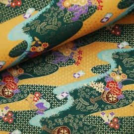 Papier japonais washi rivière doré vert orange