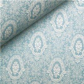Papier tassotti à motifs fleurs dentelle bleu