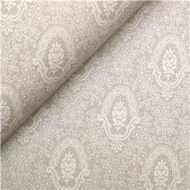 Papier tassotti à motifs fleurs dentelle beige