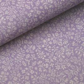 Papier tassotti à motifs fleurs blanche fond lilas