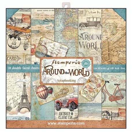 Papier scrapbooking assortiment autour du monde 10f recto verso