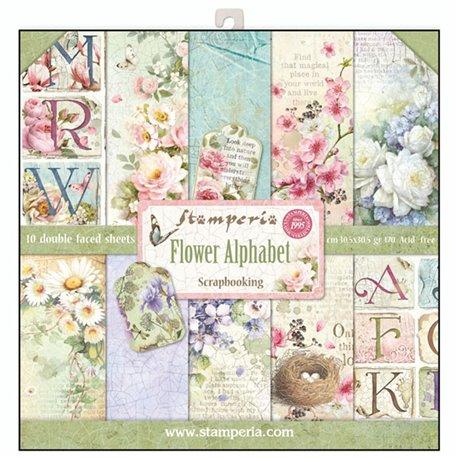 Papier scrapbooking assortiment alphabet fleurs 10f recto verso