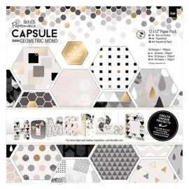 Papier scrapbooking assortiment capsule geometric mono 36fe