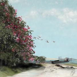 Carte d'art Valie Le Boeuf l'échapée belle 14x14 cm