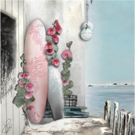 Carte d'art Valie Le Boeuf romance marine 14x14 cm