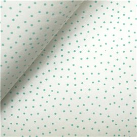Papier à motifs raidana blanc point turquoise