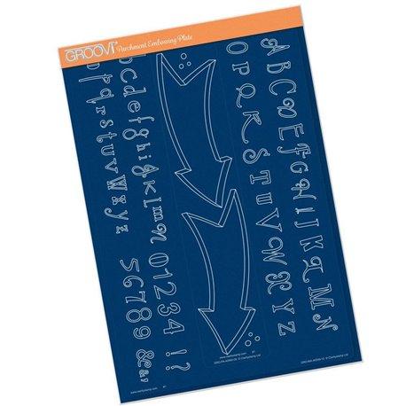Gabarit tracage du parchemin Groovi alphabet et flèches
