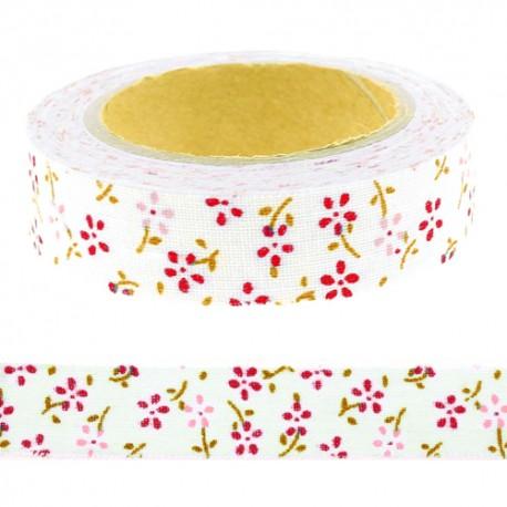 Fabric tape adhésif tissu adhésif bleu petites fleurs roses